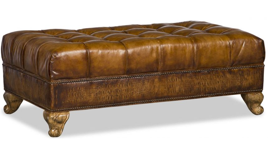 Luxury Leather & Upholstered Furniture Stylish Tufted Ottoman Sofa