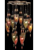Pendant of meticulously crafted metalwork in an aged dark bronze finish. Hand-blown glass