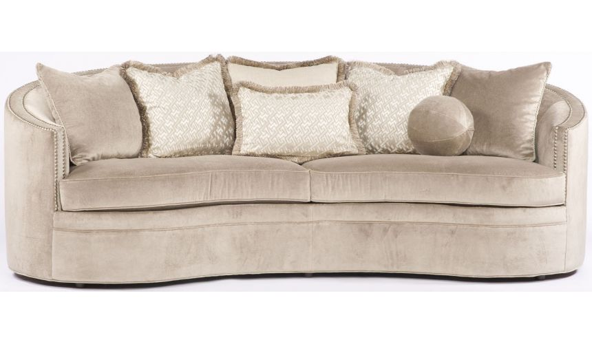 SOFA, COUCH & LOVESEAT Modern Tan Rounded Sofa