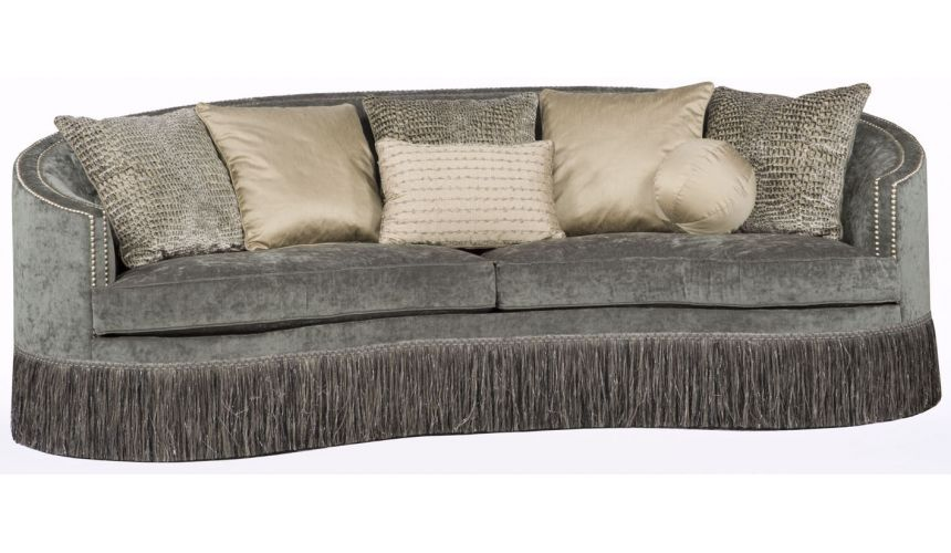 SOFA, COUCH & LOVESEAT Gray Fringed Wrap Around Sofa