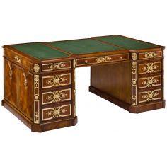 83-40 olid walnut with crotch mahogany writing desk
