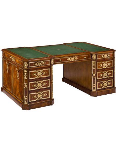 Executive Desks 83-40 olid walnut with crotch mahogany writing desk