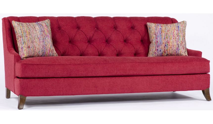 SOFA, COUCH & LOVESEAT Red Tufted Sofa