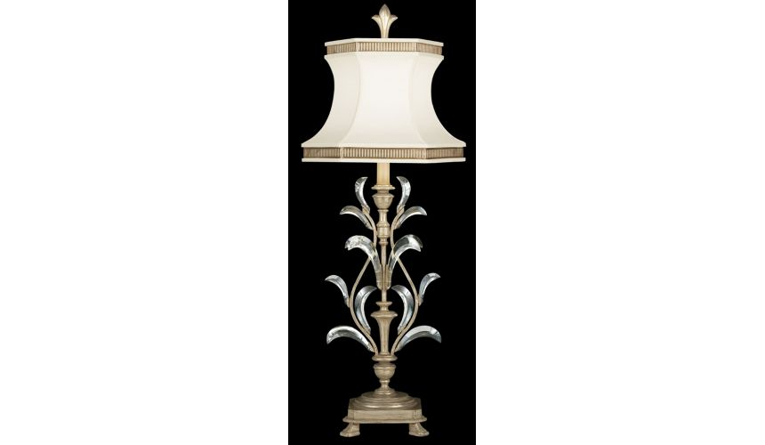 Lighting Table lamp in warm muted silver leaf finish