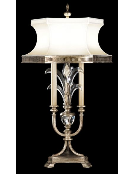 Lighting Table lamp of iron in a warm muted silver leaf finish