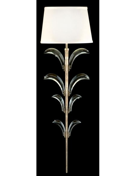 Lighting Sconce in a warm muted silver leaf finish featuring beveled crystal accents
