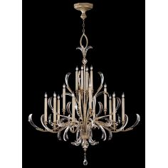 Chandelier in a warm muted silver leaf finish