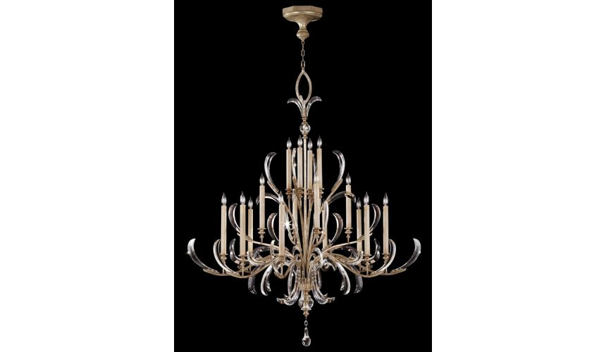 Lighting Chandelier in a warm muted silver leaf finish