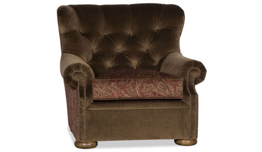 Luxury Leather & Upholstered Furniture Tufted Club Chair