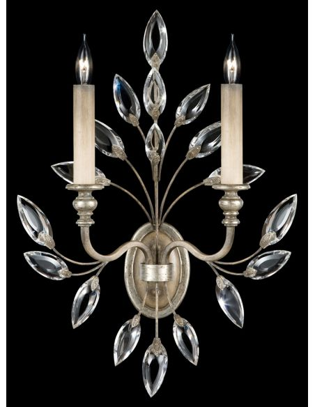 Lighting Sconce in antiqued warm silver leaf with stylized faceted crystal leaves