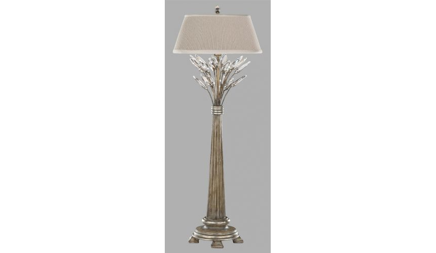 Lighting Console lamp in antiqued warm silver leaf with stylized faceted crystal leaves