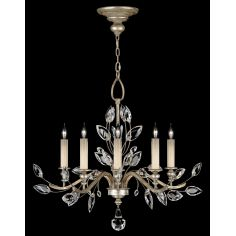 Chandelier in antiqued warm silver leaf with stylized faceted crystal leaves