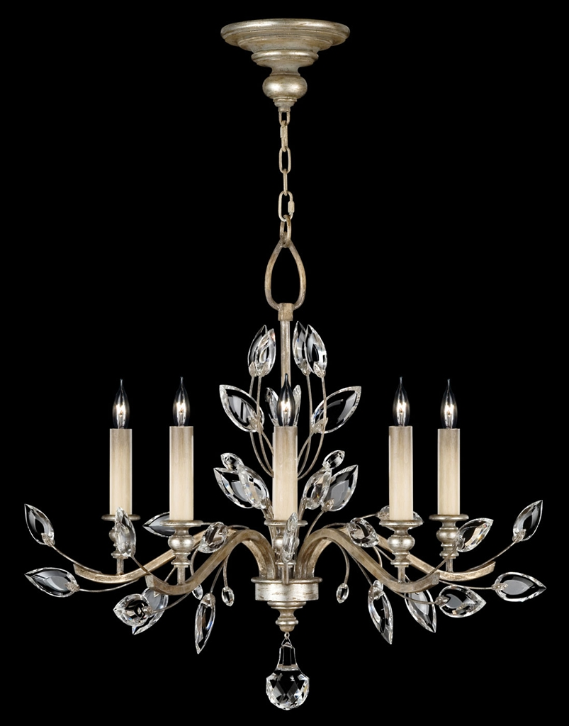Chandelier In Antiqued Warm Silver Leaf With Stylized Faceted Cryst