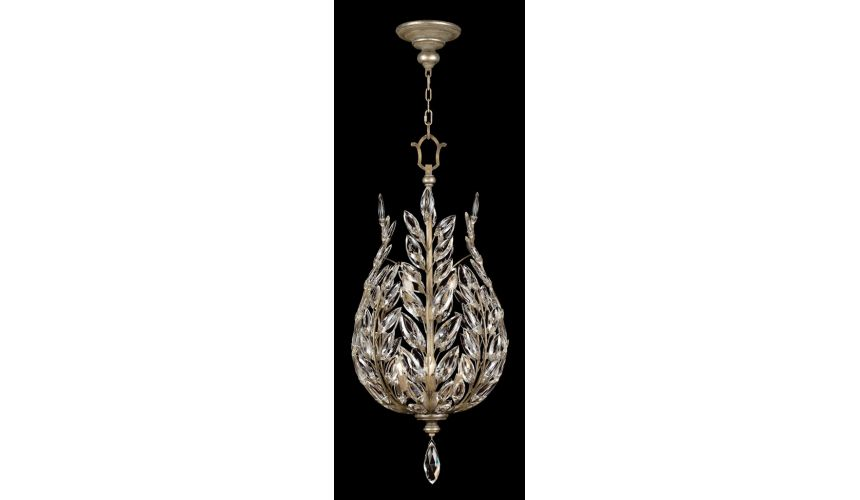 Lighting Lantern in antiqued warm silver leaf with stylized faceted crystal leaves