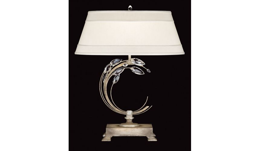 Lighting Right-side facing table lamp in antiqued warm silver leaf