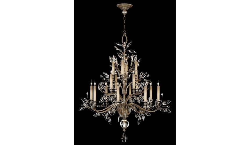 Lighting Floor lamp in antiqued warm silver leaf with stylized faceted crystal leaves