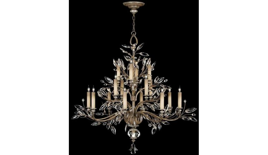 Lighting Chandelier in antiqued warm silver leaf with stylized faceted crystal leaves