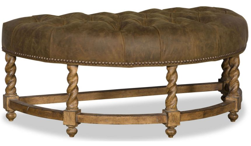 Luxury Leather & Upholstered Furniture Tufted Half-Round Bench
