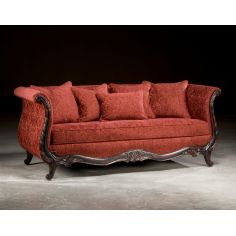 Wood Frame Antique Red Sofa