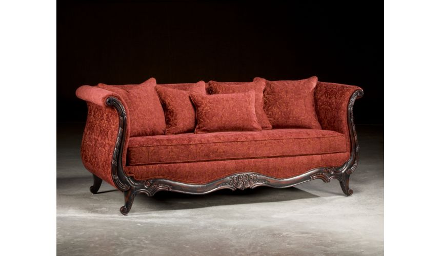 SOFA, COUCH & LOVESEAT Wood Frame Antique Red Sofa