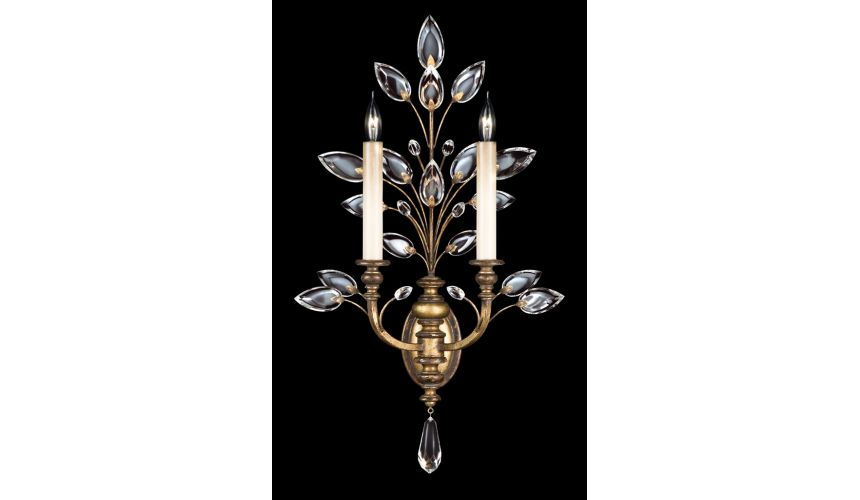 Lighting Floor lamp in gold leaf with stylized faceted crystal leaves