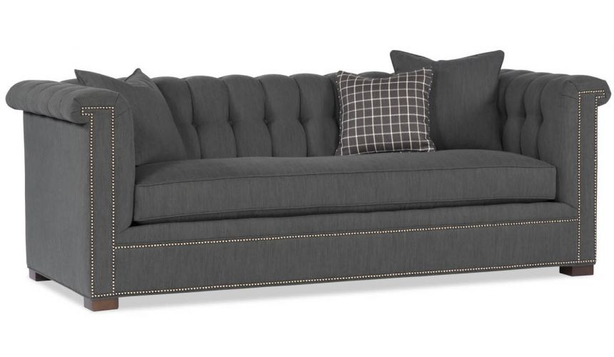 SOFA, COUCH & LOVESEAT Grey Tufted Back Sofa