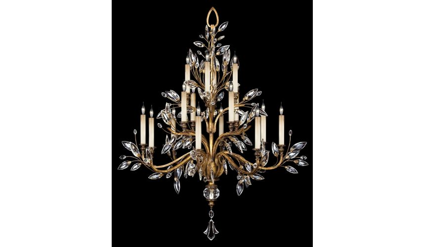 Lighting Chandelier in gold leaf with stylized faceted crystal leaves