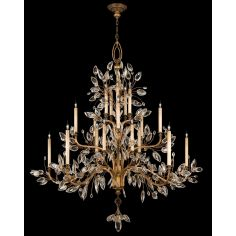 Chandelier in gold leaf with stylized faceted crystal leaves