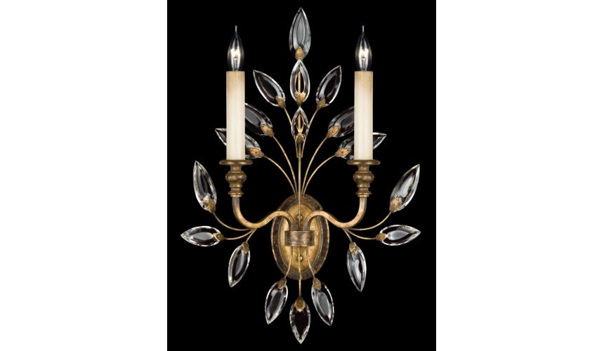 Lighting Sconce in antiqued warm gold leaf with stylized faceted crystal leaves