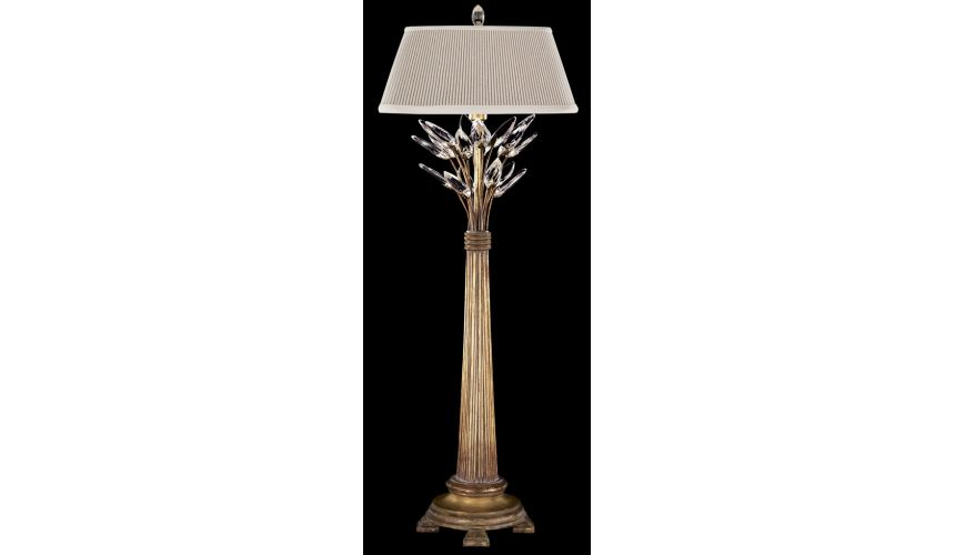 Lighting Console lamp in antiqued warm gold leaf with stylized faceted crystal leaves