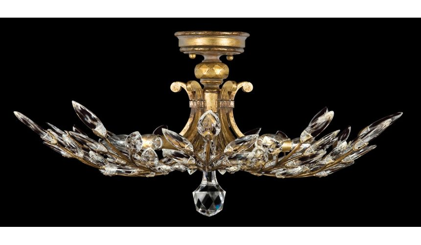 Lighting Semi-flush in antiqued warm gold leaf with stylized faceted crystal leaves