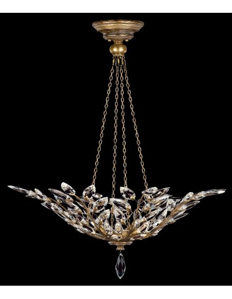 Lighting Pendant in antiqued warm gold leaf with stylized faceted crystal leaves