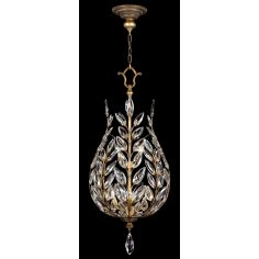 Lantern in gold leaf with stylized faceted crystal leaves