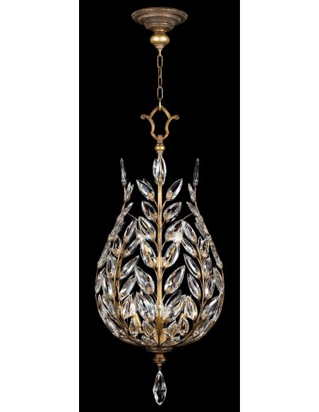 Lighting Lantern in gold leaf with stylized faceted crystal leaves