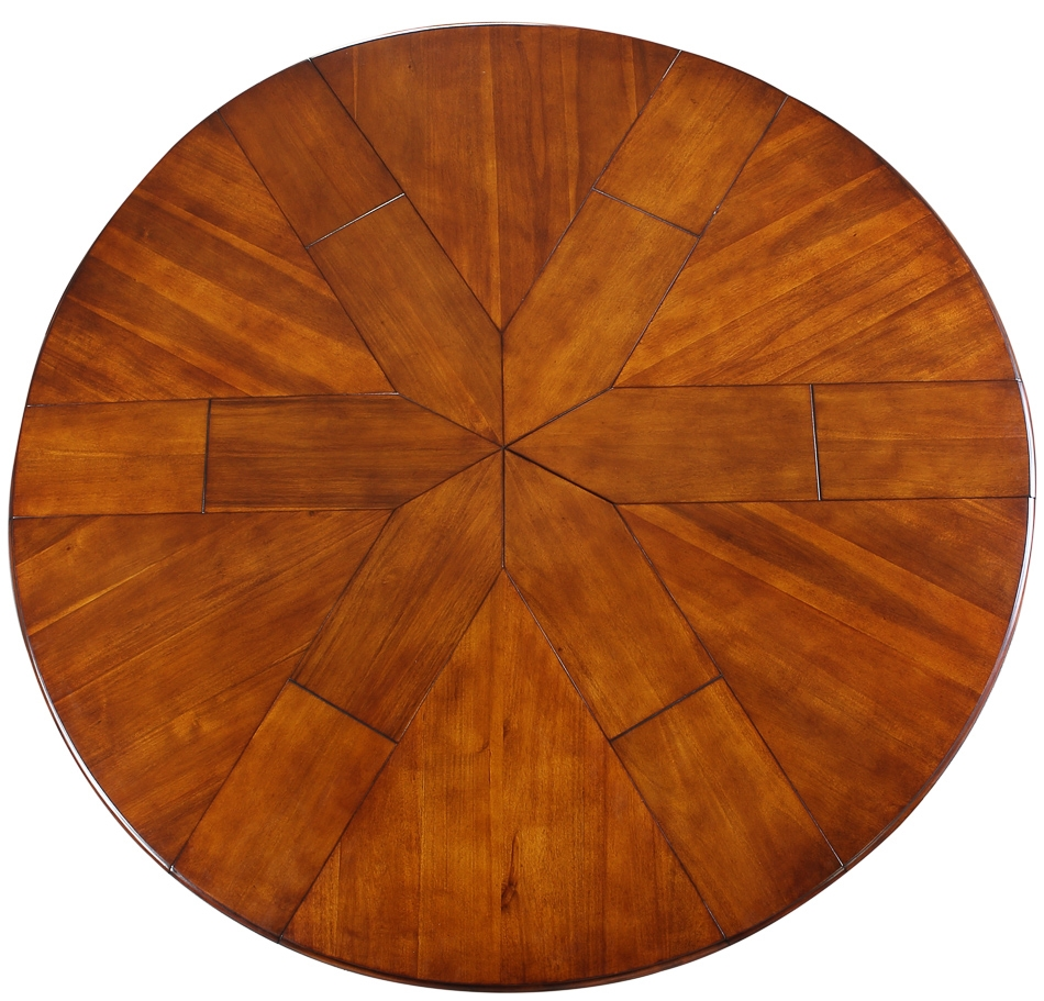 Dining Tables Transitional Style Round Table With Self Storing Leaves