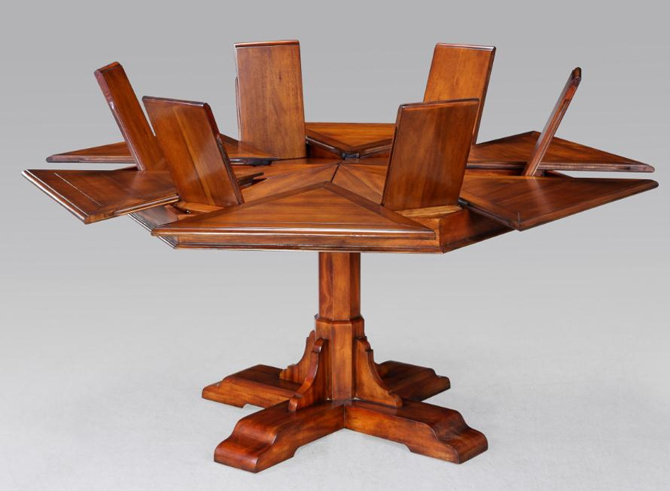 Hexagonal Table With Self Storing Leaves, Hexagon Dining Room Table