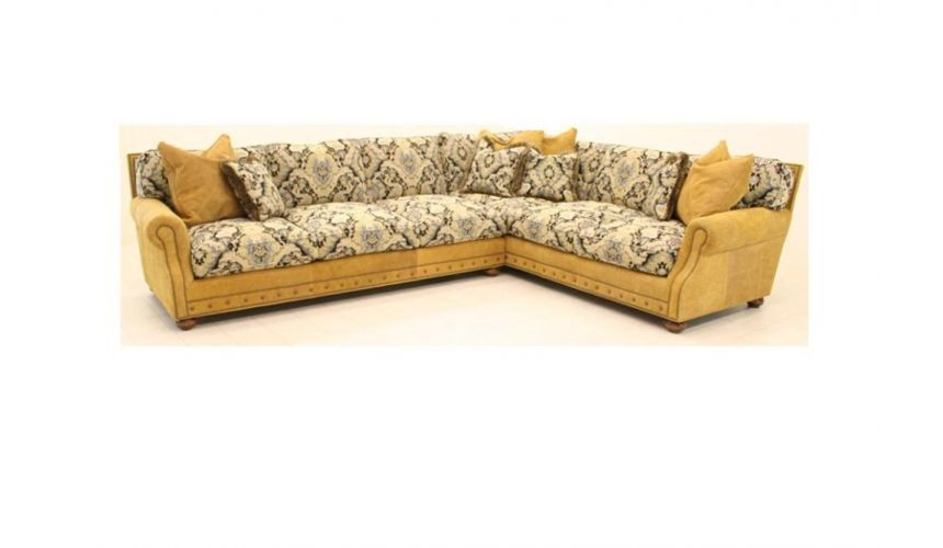 Tan Leather  Fabric 4 Piece Sectional