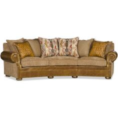 Upholstered Curved Sofa with Nail Head Trims