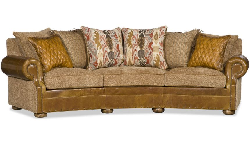 SOFA, COUCH & LOVESEAT Upholstered Curved Sofa with Nail Head Trims