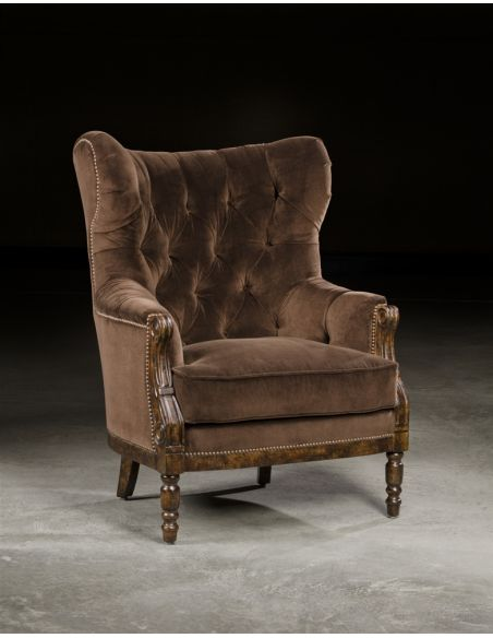 Luxury Leather & Upholstered Furniture Tufted Comfortable High Back Chair