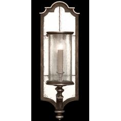 Sconce in hand painted driftwood finish on metal, distressed mirror back