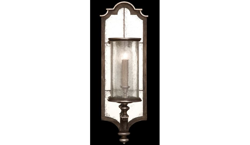 Lighting Sconce in hand painted driftwood finish on metal, distressed mirror back