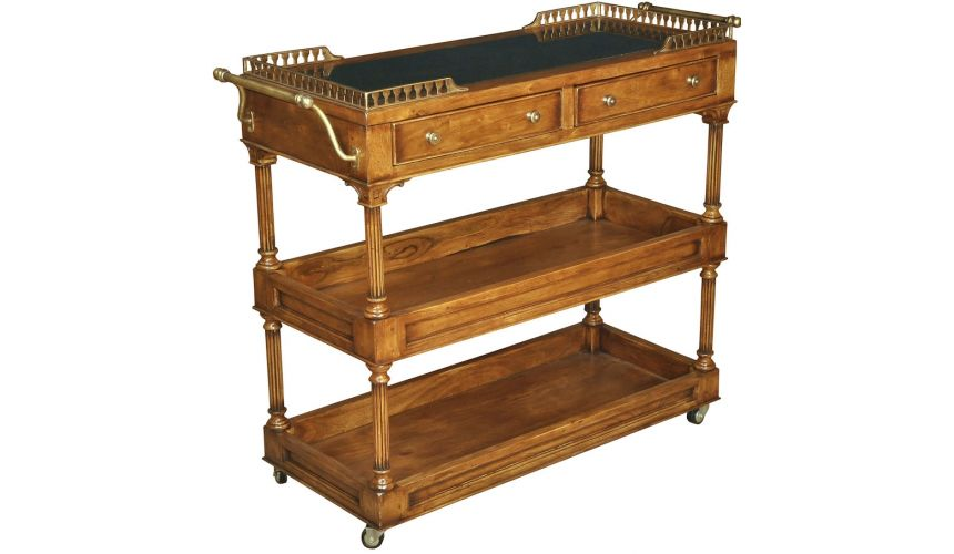 Decorative Accessories Three Tier Fruitwood Finish Serving Cart