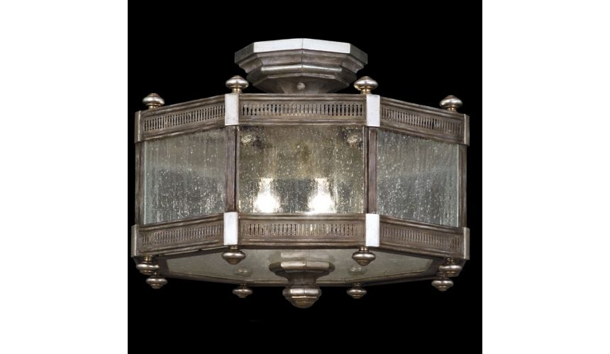 Lighting Semi flush mount in hand painted driftwood finish on metal with silver leafed accents
