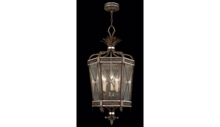 Lighting Lantern in hand painted driftwood finish on metal with silver leafed accents