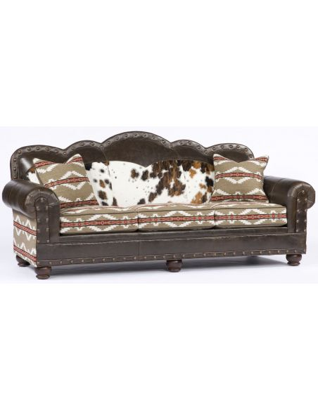 SOFA, COUCH & LOVESEAT Aztec Print leather and Upholstered Sofa