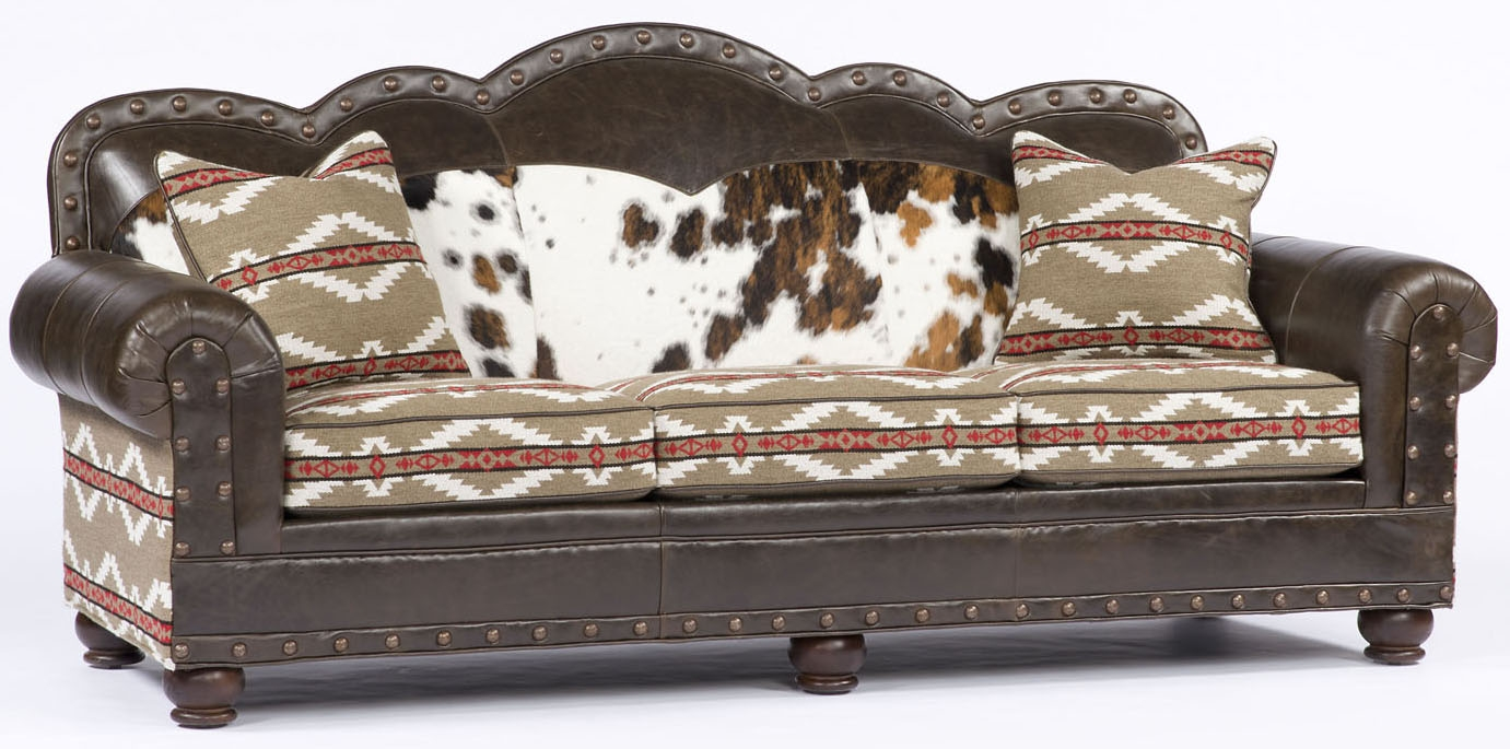 Aztec Print Leather And Upholstered Sofa ~ Southwestern Leather Sofa