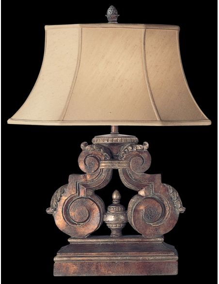 Lighting Table lamp in tortoised leather crackle finish with stained silver leaf accents