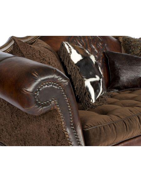 Western embossed Leather Sofa