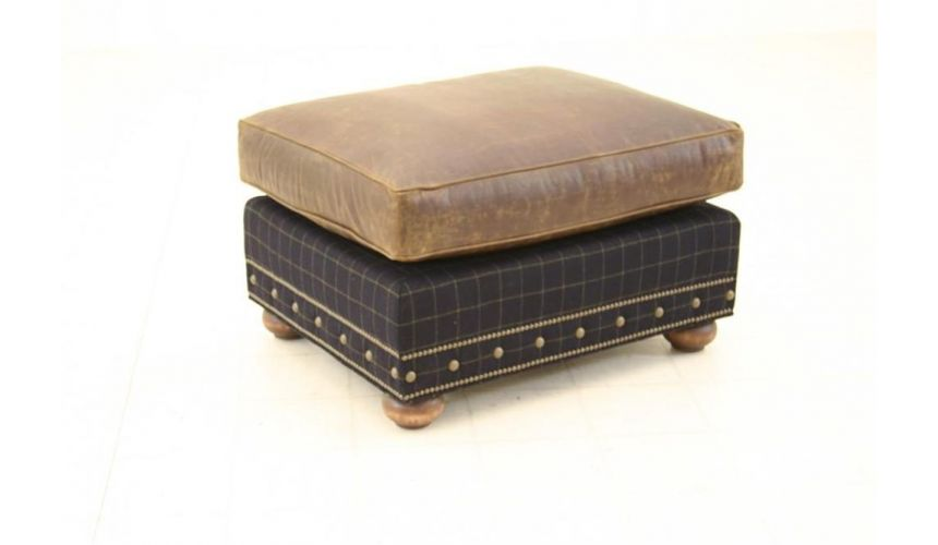 Luxury Leather & Upholstered Furniture Western Leather Ottoman High End Furniture